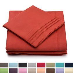Full Size Bed Sheets – Burnt Orange Luxury Sheet Set – Deep Pocket – Super Sof ...