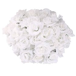 Topixdeals Silk Cream Pink Roses Flower Head, Artificial Flowers Heads for Wedding Flowers Acces ...