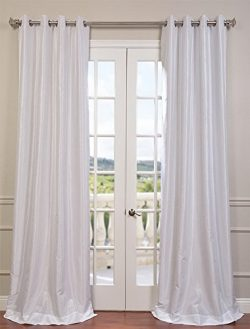 Half Price Drapes PDCH-KBS1-96-GRBO Grommet Blackout Vintage Textured Faux Dupioni Silk Curtain, Ice