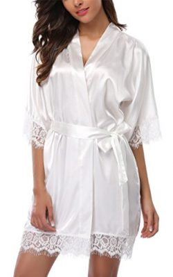 Giova Women's Lace Trim Kimono Robe Nightwear Nightgown Sleepwear Satin Short Robe Cream W ...