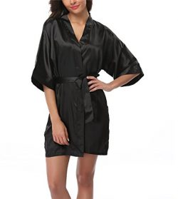 FADSHOW Women's Satin Kimono Robes Short Silk Bathrobes Loungewear,Black