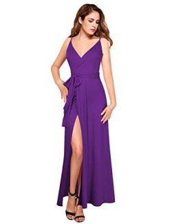 GlorySunshine Women Wrap V-Neck Strap Sleeveless Split Side Evening Dress Long Evening Gown (2XL ...