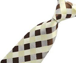 Scott Alone : New Classic Checks Jacquard Woven Silk Men's Tie Necktie (Beige)