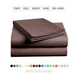 Luxe Bedding Sets – Microfiber Full Sheet Set 4 Piece Bed Sheets, Pillow Cases, Flat Sheet ...