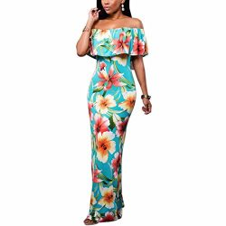 Ai.Moichien Women Retro Off Shoulder Flowers Ruffle Cocktail Dress Stretchy Maxi Dress S-XL