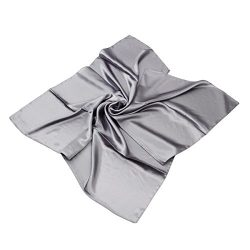 Elegant Large Silk Feel Solid Color Satin Square Scarf Wrap 36″, Grey