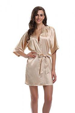 Sunnyhu Women's Pure Color Kimono Robe, Short (L, Champagne Gold)