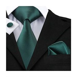 Hi-Tie Dark Green Woven Silk Tie Necktie Handkerchief Cufflinks Set for Men