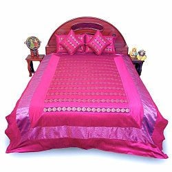 Little India Banarasi Magenta Silk Double Bed Cover Cushion Set 354