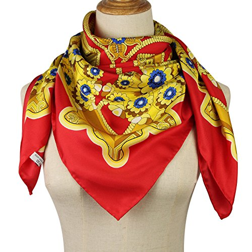 Silk Scarf Luxurious Square Wrap – Pantonight 100% Pure Silk 14MM Hand Rolling Edge Silk T ...