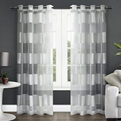 Exclusive Home Navaro Striped Sheer Window Curtain Panel Pair with Grommet Top, Winter White, 54 ...