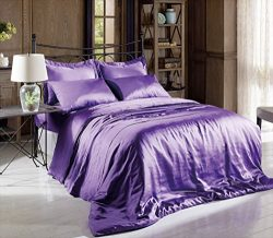 Soft Silky Satin Solid Purple 3 Pieces Deep Pocket Sheet Set for Twin Size Bed