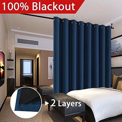 FlamingoP Full Blackout Navy Wide Patio Door Curtains Faux Silk Satin with Black Liner 100 x 96  ...