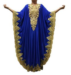 WUBU Sexy Boho Kaftan Maxi Casual Party Prom Long Evening Dress Cocktai Beach Dresses (Royal Blu ...