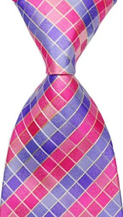 NEW EXT Collectino 100% Silk Necktie Classic Men's Checks Tie (Pink)