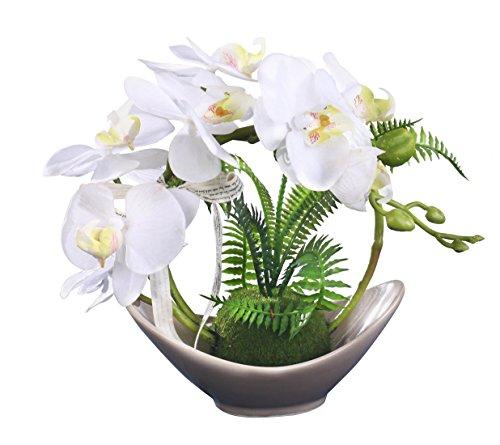 Fudostar Artificial Silk Flowers Potting in Beige Ceramic Vase, Natural Looking Phalaenopsis Flo ...
