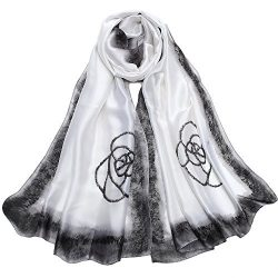 Sleep Koala Women Silk Scarf Large Satin Hair Scarves Fashion Flower Pattern Wrap Shawl White
