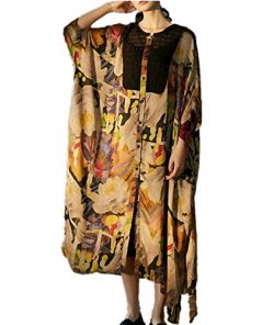 YESNO JDF Women Long Maxi Floral Dress Button-Down Stitched Side Split 3/4 Bat-Wing Sleeve Pocket