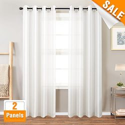 Faux Silk White Curtains for Bedroom Dupioni Window Curtain for Living Room 84 inch Length Satin ...