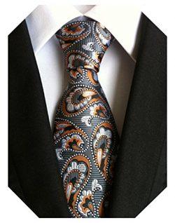 Wehug Men's Classic Paisley Tie Silk Woven Necktie Jacquard Neck Ties For Men Brown LH0003