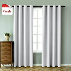 KEQIAOSUOCAI 2 Panels Greyish White Blackout Curtains 84 inches long for bedroom-Window Treatmen ...