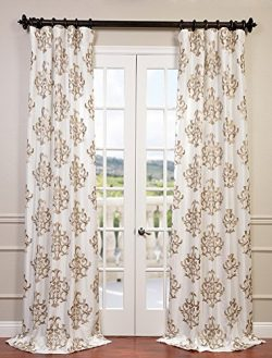 Half Price Drapes EFSCH-14087-120 Embroidered Faux Silk Taffeta Curtain, Ankara White