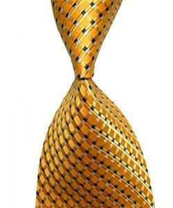 Wehug Men's Ties 100% Silk Tie Woven Neckties Jacquard Neck Ties Yellow LE0007