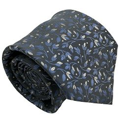 Qobod Classic Men's 100% Silk Tie Necktie Woven JACQUARD Neck Ties gift box grey white sky ...