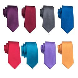 Barry.Wang Solid Neckties Silk Fabric Ties Business Men's Fashion Ties Sets