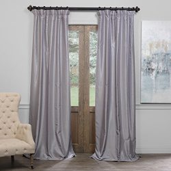 Half Price Drapes PDCH-KBS9BO-84 Blackout Vintage Textured Faux Dupioni Curtain, Silver, 50 X 84