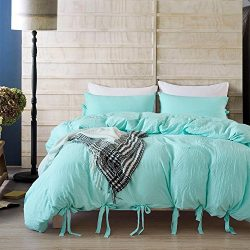 DuShow Solid Color Egyptian Wash Cotton Duvet Cover Luxury Bedding Set High Thread Count Long St ...