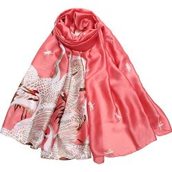 Silk Scarf Large Satin Headscarf Fashion Crane Pattern Wrap Shawl Scarves for Women Red