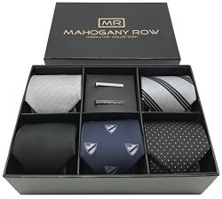 5 Luxury Mens Neckties, 2 Modern Tie Bars, Designer Gift Box, The must have Mens Necktie Set