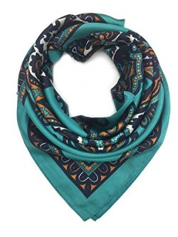 YOUR SMILE Blackish Green Silk Like Scarf Women's Fashion Pattern Large Square Satin Heads ...
