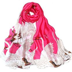 Women's Silk Scarf Large Satin Headscarf Crane Pattern Hair Scarves Shawl Rosered