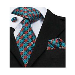 Hi-Tie Mens Plaid Checks Woven Silk Tie Necktie Set Wedding Tie (Teal Black)