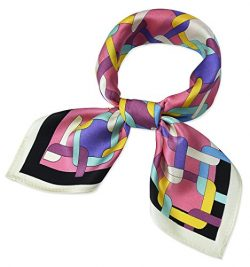 100% Real Mulberry Silk 21″ Women's Square Scarfs Scarves Flamingo Pink Square Grid  ...