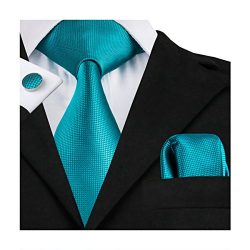 Hi-Tie Mens Teal Solid Woven Silk Tie Pocket Square Cufflinks set