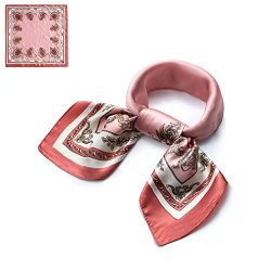 QBSM Womens Fashion Pink Flowers Pattern Large Square Satin Silk Neck Head Hair Scarf Neckerchie ...