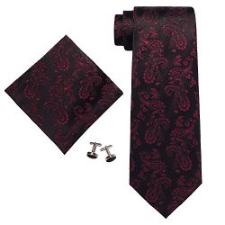 Landisun SILK Paisleys Mens SILK Tie Set: Tie+Hanky+Cufflinks 660 Black Red, 3.25″Wx59″L