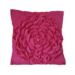 Magenta Faux Silk Flower Petals Throw Pillow case cover 1 pc 16 X 16 Inch