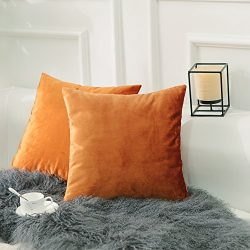 HOME BRILLIANT Set of 2 Velvet Burnt Orange Throw Pillow Covers Square Decorative Cushion Cover  ...