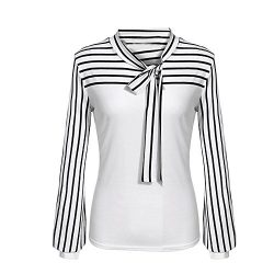 Women Blouse Business Blouse Bow Strappy Striped Patchwork Slim Tops by St.Dona (S, White)