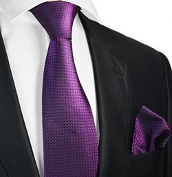 Grape Purple Silk Men's Tie and Pocket Square by Paul Malone