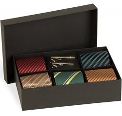 Men's Tie Set – 5 Luxury Neckties And 2 Classy Tie Bars In Gift Box By Pointed Desig ...