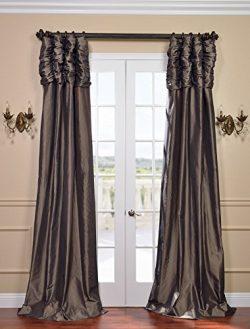 Half Price Drapes PTCH-27-96-RU Ruched Faux Silk Taffeta Curtain, Mushroom