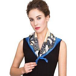 Silk Scarf For Women, 100% Silk Scarf for Hair Square silk scarf 16mm Twill silk (blue)