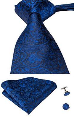 Hi-Tie Mens Paisley Silk Blue Tie Hanky Cufflinks set