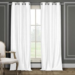 Faux Silk Grommet Top Window Curtain Pair Panel Drapes For Bedroom, Livingroom, Kids, Children,  ...