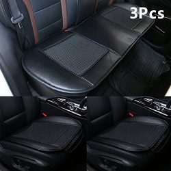 Car Seat Covers,Ice Silk Car Seat Cushion Covers Pad Mat[carbonized Leather] Ventilated Breathab ...